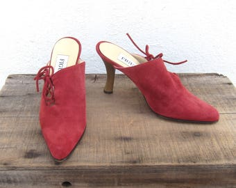 90s Mules Modernist Red Suede Laced Pointed Toe High Heel Shoes Ladies Size 36 (US 6)