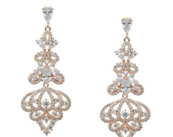 Pear and brillant cut cubic zirconia earrings - Rose Gold