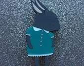 Shy Bunny Handmade Laser Cut Perspex Brooch - Charcoal