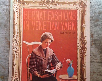 Vintage 1960 Bernat Fashions in Venetian Yarn Knitting Pattern Book