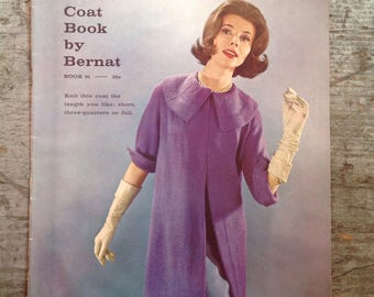 Vintage 1960 Bernat The Coat Book Yarn Knitting Pattern Book