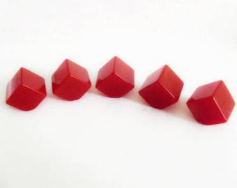 Small Bakelite Cube Buttons Red
