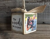 Personalized Wedding Block Ornament - Brown Distressed