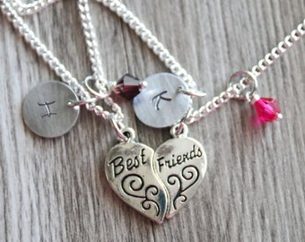 Long Distance Friendship, Long Distance Gift, Personalized Initial Necklace, Birthstone Color, Customized Necklace, BFF Heart Best Friends