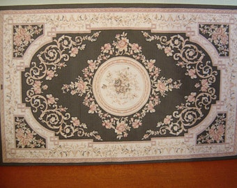 Dollhouse Aubusson Rug Black Ivory Pink 1:12 scale