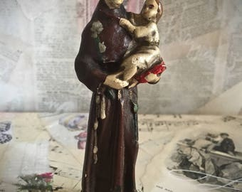 Antique, French Statue of a Saint Holding the Christ Child