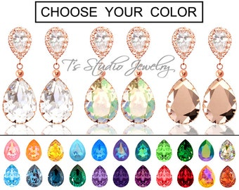 "CHOOSE YOUR COLOR Pear Shaped Crystal Bridesmaid Earrings - ""Maggie"" - Rose Gold"
