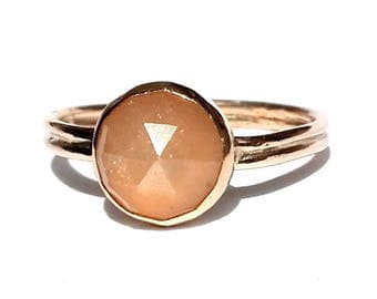 Peach Moonstone Ring- Moonstone Rose Gold Ring- Moonstone Engagement Ring - Rose Cut Moonstone Ring -Moonstone Wedding Ring- Stackable Ring.