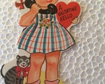 Vintage Valentine Little Telephone Girl Sweet 1960's  or Earlier Retro