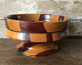 Vintage Wooden Parquet Bowl Beautiful Woods