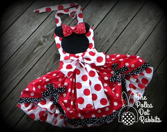 Toddler Girls Red Minnie Mouse Costume Party Pageant Red Polka Dot Ruffle Poof Dress, Applique Minnie Silhouette Twirl Skirt- Halter Top