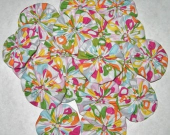 "Fabric YoYos, Multi Color Pattern, 2"" Size, Appliques, Quilting, Embellishments"