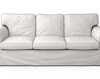 IKEA Ektorp 3 Seater Sofa SLIPCOVER ONLY In Herringbone Ivory Fabric