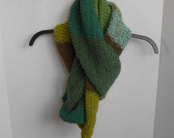 Green Scarf Multi-Color Long Knitted Scarves Unisex Bulky Colorful Extra Long Fashion Knitwear Accessories Handmade Gifts