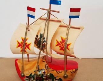 Vintage Dutch Wooden Shoe Souvenir