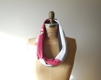 Indiana University T Shirt Infinity Scarf Womens Tee Scarf Hoosiers T-Shirt Scarf Handmade Scarf Cotton Scarf Fall Autumn Scarf ohzie