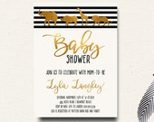 Safari Baby Shower Invitation | Animal Baby Shower Invitation  | Chic Baby Shower Black Gold