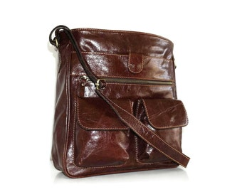 Distressed Brown Leather Messenger Bag, Leather Messenger, Leather Cross-body Bag, Ipad bag, Leather Purse, Laptop Bag, 11in laptop - Iris