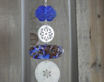 Australian Opal Pendant with Mother of Pearl and Cobalt Glass Knot on Sterling Chain