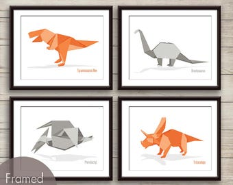 Dinosaur Origami Art Collection - Set of 4 Art Prints (Featured in Dolphin Grey and Crimson Orange) Dino Art Wall Decor