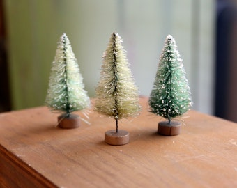 faded minty green BOTTLEBRUSH TREES set of 3 small 2.5 Inch trees and made of sisal