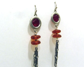 African Amber Disc and Hematite Chain Red Earrings