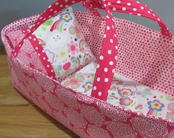 Doll Carrier, Will Fit Bitty Baby and Stella Dolls, Modern Fabric with Pink Lining and Fun Flannel Blanket and Pillow, 16 Inches Long