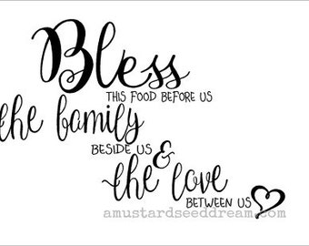 Bless This Food Before Us Saying with Heart design, Wall Art, Graphic, Lettering, Decals, Stickers