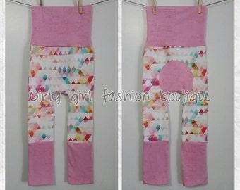 Maxaloones pantalons evolutif grow with me pants rainbow triangles pink