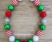 Red Green White Chunky Necklace, Holiday Necklace, Christmas Girl Necklace, Toddler Necklace, Baby Girl Necklace, Baby Chunky Necklace