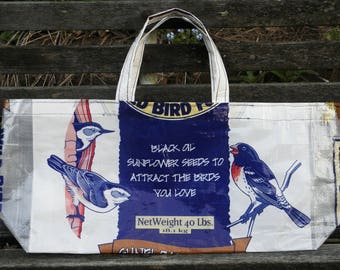 NEW LOW PRICE, X-wide Shallow Tote Bag,  Upcycled Recycled Repurposed Bird Seed  Bag for Bird Lovers