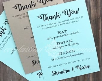 Reception Thank You Card personalized wedding stationery set of 10 cards