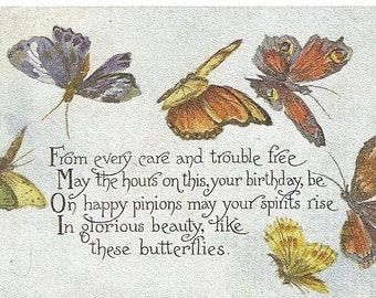 Vintage 1910's Butterfly Birthday Greetings Postcard