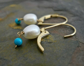 Pearl Earrings, Turquoise Earrings, Freshwater Pearl Drop Earring, Wire Wrapped Jewelry, Dangle Earrings, 14 Kt Leverback Earrings, Everyday