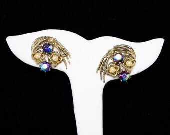 Coro Signed Rhinestone Clip on Earrings - Blue Aurora Borealis - Faux Pearl Beads - Abstract Gold Tone Setting - Vintage Mid Century 1950's
