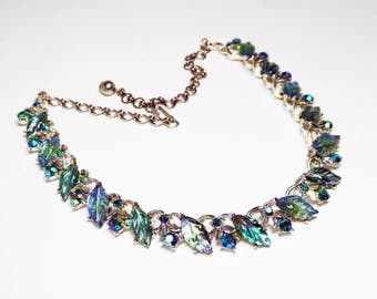 Shades of Green Necklace - Signed BSK Molded Glass Leaves Choker - Fruit Salad style Leaf, Blue & Green Rhinestones - Silver tone  - 1950's