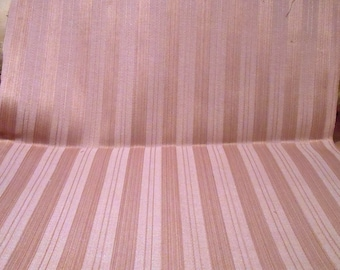 Vintage Fabric Dusty Pink Upholstery Striped Remnant