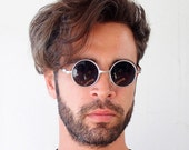 round Retro Victorian sunglasses spectacles silver Hi Tek small Ozzy Osbourne style