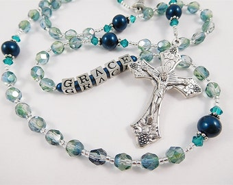 Sea Green and teal Catholic Rosary - Personalized - Baptism, First Communion, Confirmation