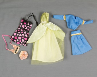 Barbie fashion clothes 6 pieces, 4 outfits, Floor length gown, Halter top sun dress, 2 piece bikini, Classic retro polyester skirt and top