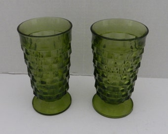 Indiana Glass Whitehall Colony Cubist Avocado / Green Footed Ice Tea / Water tumblers - Two