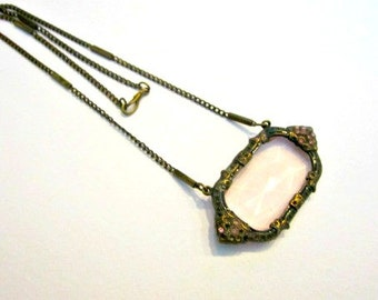Art Deco Nouveau Necklace Pink Glass Brass Choker Faceted Window Frame Pendant Gorgeous AS IS Needs Stones