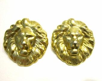 Vintage Lion Head Earrings Gold Sun Earring Gift Idea Jewelry for Mom Pierced Earrings Large Under 15
