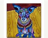 55% Off TODAY- Tile Basenji  art Tile Ceramic Coaster Mexican Folk Art Print of painting by Heather Galler Dog (HG157)
