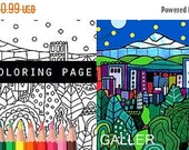 50% Off Storewide- Portland Oregon Skyline City Coloring Book Pages, Adult Coloring Cityscape Printable Instant Download