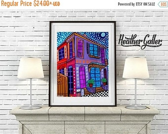 50% Off Today- New Orleans Art Print Poster of Painting French Quarter Katrina Cottage Houses NOLA