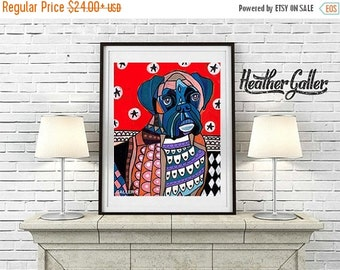 50% Off Today- Boxer Dog Art Poster Print of Heather Galler Dog Painting - (HG217)