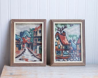 Vintage Needlework, Framed Needlepoint, Old Town Neighborhood, Tuscan City Streets, Charming Streetscape, Rust Orange Blue Green
