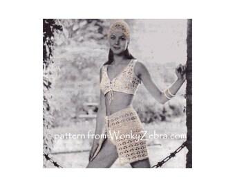 Crochet beach skirt hat bra bralette bikini top hippy festival vest waistcoat playsuit beach set Vintage Pattern PDF 939 from WonkyZebra