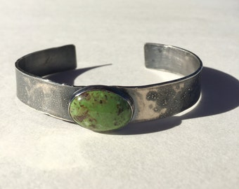 Gaspeite Cuff- gaspeite cabochon, stone cuff, cuff bracelet, sterling silver cuff, organic earthy, boho chic, green stone, metalsmith